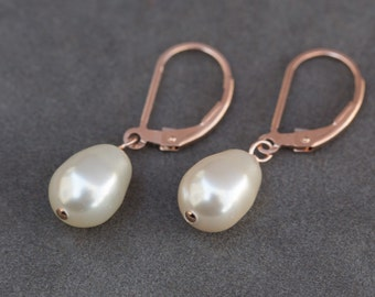 Rose Gold Bridal Earrings, Wedding Pearl Drop Earrings, Rose Gold Bridal Jewelry, Teardrop Pearl Earrings