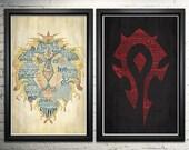 World of Warcraft  Art Horde and Alliance Art Print set