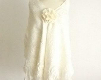Felted scarf, Nuno felted shawl OOAK hand made wool and silk, white wrap, wool stole, Bridal shawl, bridal wrap, Elegant white Wavy scarf
