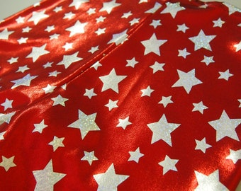 Shiny Red Star Print Roller Derby Shorts