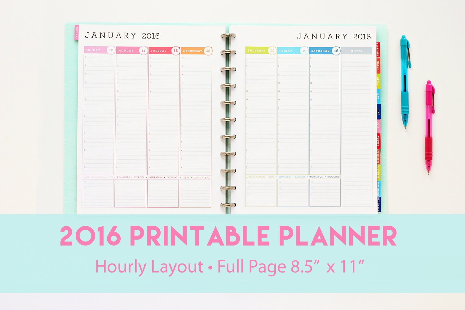 2016 Hourly Planner Printable Weekly Agenda Hourly by 505design