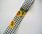 Ribbon Destash ~ Vintage Sunflower Black and White Check