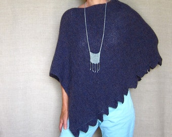 Alpaca Poncho Hand-knit in Blueberry