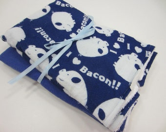 Flannel Burp Cloths, Set of 2, Large size, Terry Cloth and Flannel, I Love Bacon, Blue