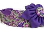 Purple Paisley Dog Collar & Flower / Purple Dog Collar / Flower Dog Collar / Paisley Dog Collar / Purple Flower Dog Collar