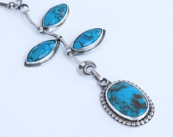Turquoise Leaf Pendant Necklace Sterling Silver Art Jewelry OOAK