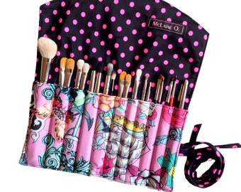 Pink Tattoo and Polka Dot Makeup Brush Roll
