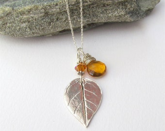 Long BOHO Necklace, Leaf Necklace, Silver Leaf Pendant, Made With Real Leaf