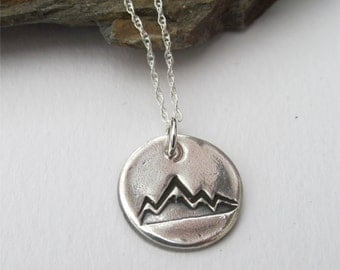 Mountain Necklace, Silver Mountain Pendant, Nature Jewelry, Dainty Necklace