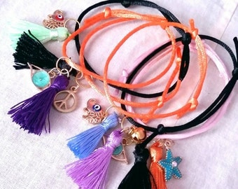 Ethnic style charm bracelets / lucky charm / set of 7 / free  combined shipping /ready to ship