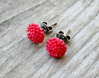 Titanium Earrings, Poppy Red Tiny Mums on Hypoallergenic Titanium Posts/Studs