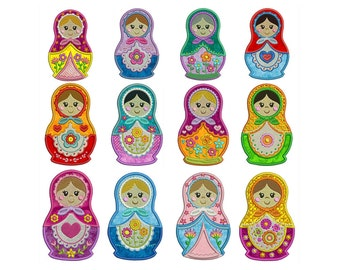 RUSSIAN DOLLS - Machine Applique Embroidery - Patterns - Instant Digital Download