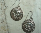 Silver Dangle Earrings, Om Symbol Earrings, Filigree Medalions, Filigree Earrings, Sterling Silver Om Earrings