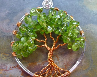 Peridot Tree of Life Pendant Necklace -Wire Wrapped Peridot Gemstone Necklace- August Birthstone
