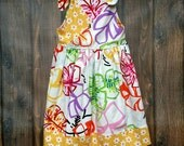 Girls Sleeveless Dress Size 5 Orange Yellow Purple Green with Shoulder Ties - Girls Party Dress 5 Cute Print - Girls Trendy Dress Size 5