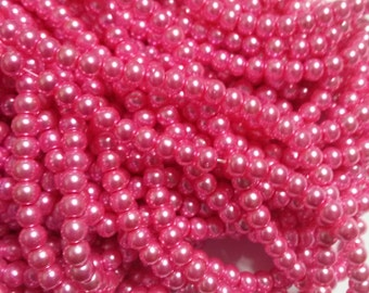 """Pink Pearls Glass Pearls 4mm 216 pieces Wholesale Beads Bulk Beads 32"""" Strand Pink Beads"""