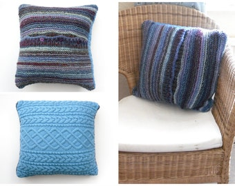 Striped Blue Cushion cover , Clearance sale , Reduced price , Winter throw pillow , recycled and hand knitting combined. OOAK , christmas