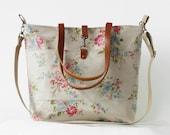 LARGE.Waterproof laminate, blossom linen Tote / Shoulder Bag / school bag / Diaper bag, with detachable strap. Design by BagyBags