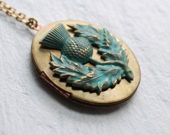Scottish Thistle Locket .. Vintage Necklace Pendant Oversized Brass Antique