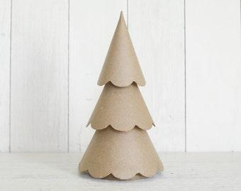Paper Mache Christmas Tree - 12 Inch Scalloped Cone Tree