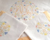 SALE PRICE French Vintage Linen Sheet and 2 Cases / Fine Embroidery / Large Size /1930s