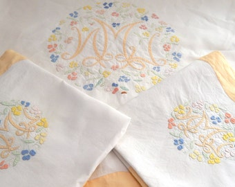 NEW SALE PRICE French Vintage Linen Sheet and 2 Cases / Fine Embroidery / Large Size /1930s