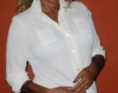 Vintage White ,mesh blouse.. silky white top,vintage blouse, vintage shirt, vintage white button down blouse,FREE SHIP USA