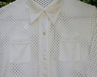 Vintage White ,mesh blouse.. silky white top,vintage blouse, vintage shirt, vintage white button down blouse,