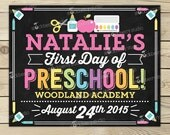 First Day of Preschool Chalkboard Sign Printable - Girl 1st Day of Preschool Sign - 1st Day of School Chalkboard Poster Back to School Sign