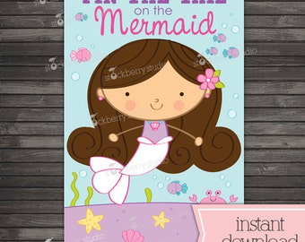 Pin the Tail on the Mermaid Printable - Party Games - Mermaid Birthday - Instant Download - Mermaid Party Decor - Birthday Games - Girl