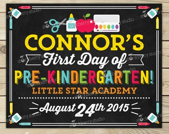 First Day of Pre K Chalkboard Sign Printable - 1st Day of Pre Kindergarten Sign - 1st Day of School Chalkboard - Back to School Sign