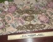 Vintage Ornate Embossed Solid Brass Door Knob Escutcheon Plates