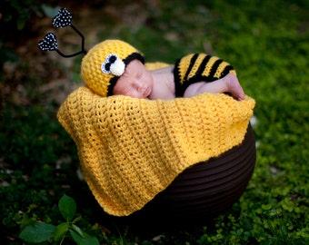 Bumble Bee Hat Newborn Photo Prop