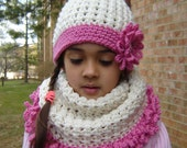 PDF Instant Download Crochet PATTERN No 138 Cream Hat and Cowl neck set child, teen  and adult sizes