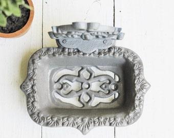 Modern Grey Gray Business Card Holder-Soap Dish-Bathroom Decor-Grey Home Decor,Shabby Chic-Farmhouse-Shabby Country Cottage