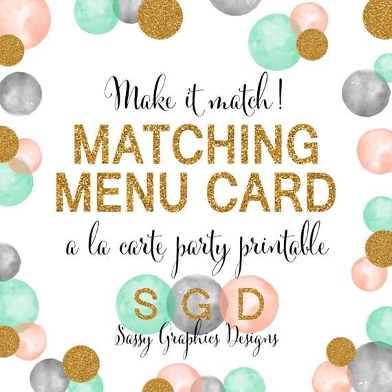 Menu Card Baby Shower Bridal Shower Birthday Party Wedding Party