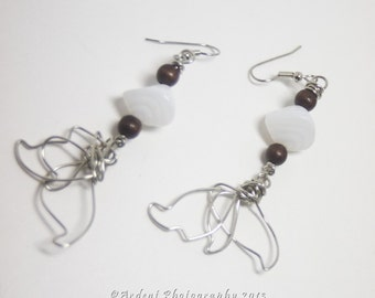 Free-Form Wire Art Leaf Earrings with brown wood and white Czech Glass Fall Art - First of Spring - Boho Chic Art Jewelry by Ardent Life