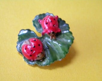 Two Ladybugs on a Lillypad Orignal by Robert Brooch