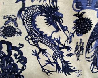 Pillow Cover Cushion deep blues mandarin ducks, butterfly, dragon georgous color