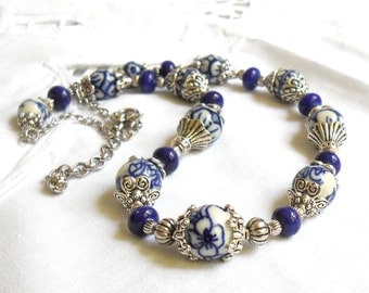 delft necklace delft blue jewelry delft blue style necklace blue and white necklace delft blue necklace delft blue jewelry