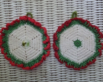 Pair Vintage Hand Crochet Red White Green Floral Potholders