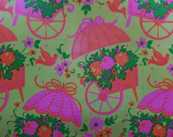 Vintage Pink & Orange Rose Flower Cart All Occasion Gift Wrap Wrapping Paper