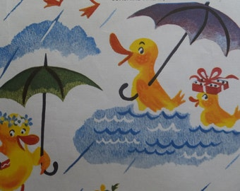 Vintage Sunshine Ahead Tie Tie Products Baby Ducks Shower Gift Wrap Wrapping Paper