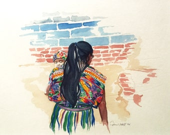Guatemalan Mayan Mother and Child huipil textile digital print