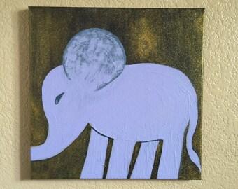 Baby Blue Elephant Original Art Acrylic Painting 12x12