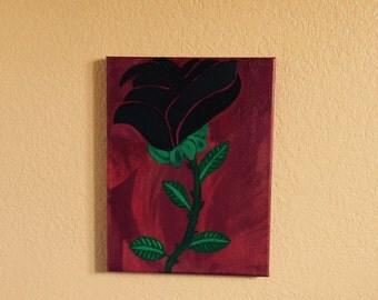 Black Flower Original Art Painting Acrylic on Canvas 9 x 12