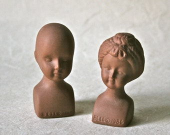 Dark Skinned Porcelain Doll Heads or Busts for Doll Making and Decor