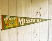 Vintage Missouri Souvenir Pennant - Mid-Century 1960s - Hillbilly Moonshiner - Mountain Man - Kitschy Gift Idea