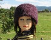 Purple Alpaca Knit Felt Furry Hat Boxy Crusher