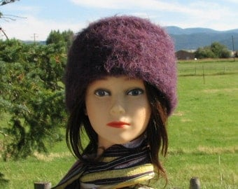 Purple Alpaca Knit Felt Furry Hat Boxy Crusher